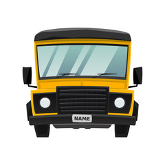 Cartoon flat school bus or truck vector illustration. Car for delivery, transportation, travel. Logo or icon of auto