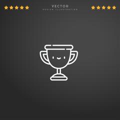 Outline Trophy icon isolated on gradient background, for website design, mobile application, logo, ui. Editable stroke. Vector illustration. Eps10.