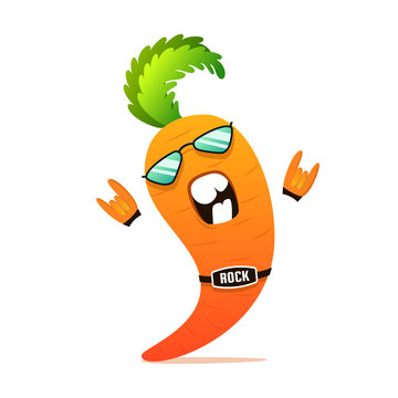 Rock n roll carrot funny cartoon character. Organic vegetable illustration for cooking, articles, recipe. Vector vegetarian t-shirt print cute concept.