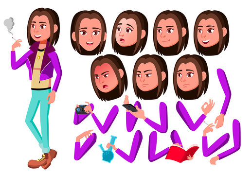 Teen Girl Vector. Teenager. Adult People. Casual. Fun, Cheerful. Smoking Cannabis. Face Emotions, Various Gestures. Animation Creation Set. Isolated Flat Cartoon Character Illustration