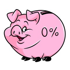 Pig piggy bank zero percent accumulation money cartoon illustration isolated image