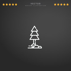 Outline Pine icon isolated on gradient background, for website design, mobile application, logo, ui. Editable stroke. Vector illustration. Eps10.