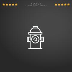 Outline Hydrant icon isolated on gradient background, for website design, mobile application, logo, ui. Editable stroke. Vector illustration. Eps10.