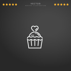 Outline Cupcake icon isolated on gradient background, for website design, mobile application, logo, ui. Editable stroke. Vector illustration. Eps10.