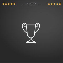 Outline Trophy icon isolated on gradient background, for website design, mobile application, logo, ui. Editable stroke. Vector illustration. Eps10.