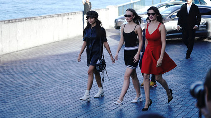 "French actors Laetitia Casta and Lily Rose Depp arrive to a photocall to promote the feature film ""A Faithful Man"" at the San Sebastian Film Festival"