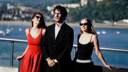 "French actors Laetitia Casta, Louis Garrel and Lily Rose Depp take part in a photocall to promote the feature film ""A Faithful Man"" at the San Sebastian Film Festival"
