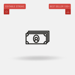 Outline Cash icon isolated on grey background. Line pictogram. Premium symbol for website design, mobile application, logo, ui. Editable stroke. Vector illustration. Eps10