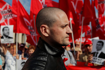 Leader of the Left Front opposition movement Udaltsov takes part in a rally against the pension reform in Moscow