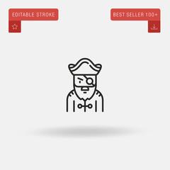 Outline Pirate icon isolated on grey background. Line pictogram. Premium symbol for website design, mobile application, logo, ui. Editable stroke. Vector illustration. Eps10