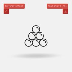 Outline Round Shot icon isolated on grey background. Line pictogram. Premium symbol for website design, mobile application, logo, ui. Editable stroke. Vector illustration. Eps10