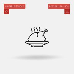 Outline Chicken icon isolated on grey background. Line pictogram. Premium symbol for website design, mobile application, logo, ui. Editable stroke. Vector illustration. Eps10