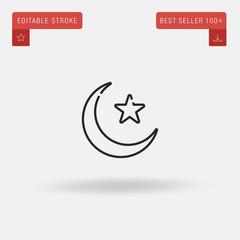 Outline Muslim icon isolated on grey background. Line pictogram. Premium symbol for website design, mobile application, logo, ui. Editable stroke. Vector illustration. Eps10