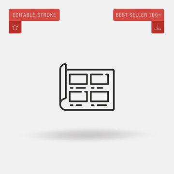 Outline Storyboard icon isolated on grey background. Line pictogram. Premium symbol for website design, mobile application, logo, ui. Editable stroke. Vector illustration. Eps10
