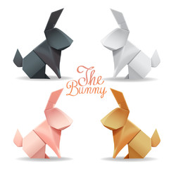Origami paper bunny and rabbit group set decor vector illustration