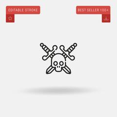 Outline Skull icon isolated on grey background. Line pictogram. Premium symbol for website design, mobile application, logo, ui. Editable stroke. Vector illustration. Eps10