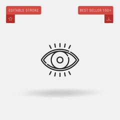 Outline Eye icon isolated on grey background. Line pictogram. Premium symbol for website design, mobile application, logo, ui. Editable stroke. Vector illustration. Eps10