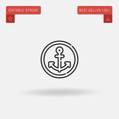 Outline Anchor icon isolated on grey background. Line pictogram. Premium symbol for website design, mobile application, logo, ui. Editable stroke. Vector illustration. Eps10