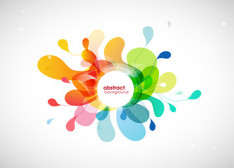 Abstract vector illustration with colorful half transparent flower petals. Also white circle for your own text.