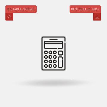 Outline Calculator icon isolated on grey background. Line pictogram. Premium symbol for website design, mobile application, logo, ui. Editable stroke. Vector illustration. Eps10