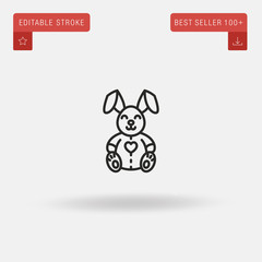 Outline Lovely Bunny icon isolated on grey background. Line pictogram. Premium symbol for website design, mobile application, logo, ui. Editable stroke. Vector illustration. Eps10