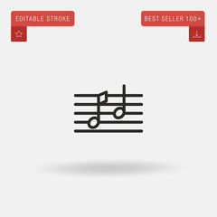 Outline Two Music Notes icon isolated on grey background. Line pictogram. Premium symbol for website design, mobile application, logo, ui. Editable stroke. Vector illustration. Eps10