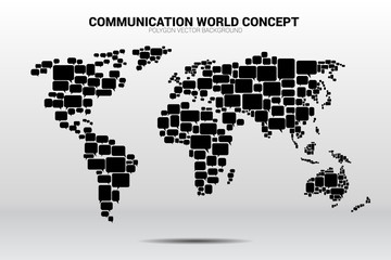 group of speech bubble icon shape to world map . concept of communication network.