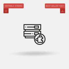 Outline Database icon isolated on grey background. Line pictogram. Premium symbol for website design, mobile application, logo, ui. Editable stroke. Vector illustration. Eps10