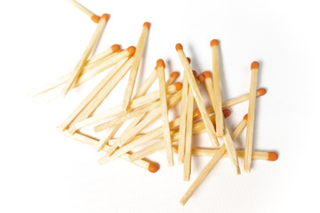 matches on white background, many matches, series, white background, isolated