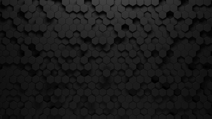black background of hexagons of different heights, top lighting. Technological backdrop.3d Rendering.