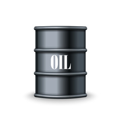 Black metal barrel of oil vector
