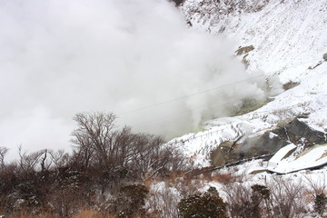 Kanagawa Prefecture, Japan - January 30, 2018 : Owakudani, a volcanic valley in the winter