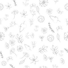 Floral seamless pattern vector illustration on white background. Line art pattern image.