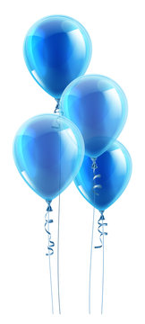A set of blue party balloons floating in the air.