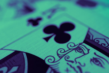 King of hearts macro, fortune-telling cards. Mystic card ritual, prediction of female love fortune, close up.