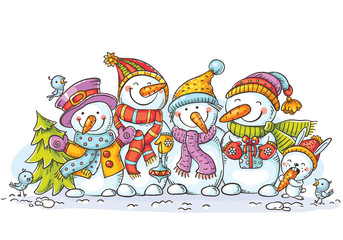 Happy colorful snowmen with Christmas ornaments, greeting card, vector illustration