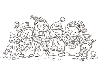 Happy colorful snowmen with Christmas ornaments, greeting card, vector illustration, outline