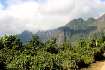 Vang Vieng, Laos - January 1, 2016 : Mountain View in the morning