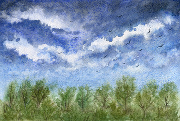 Beautiful landscape with blue cloudy sky and forest. Watercolor painting.