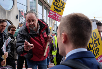 Anti-racism campaigners demonstrate on the streets outside the conference venue where UKIP are holding their annual conference in Birmingham