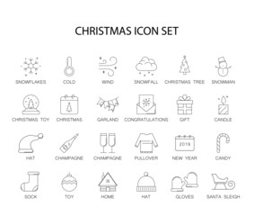 Line icons set. Christmas pack. Vector illustration