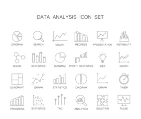Line icons set. Data analysis pack. Vector illustration