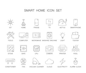Line icons set. Smart home pack. Vector illustration