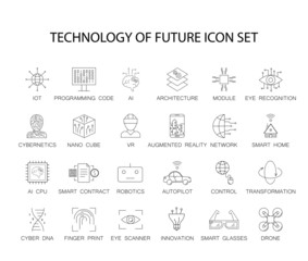 Line icons set. Technology of future pack. Vector illustration