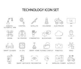 Line icons set. Technology pack. Vector illustration