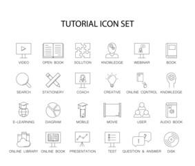 Line icons set. Tutorial pack. Vector illustration