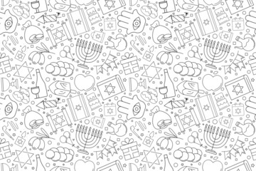 Hanukkah background from line icon. Linear vector pattern. Vector illustration
