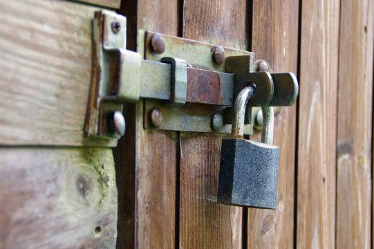 Old padlock on door