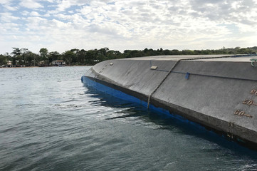 MV Nyerere that overturned is seen off the shores of Ukara Island in Lake Victoria