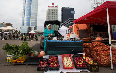 Street seller waits for customers at a market during the annual autumn agriculture fair in Minsk